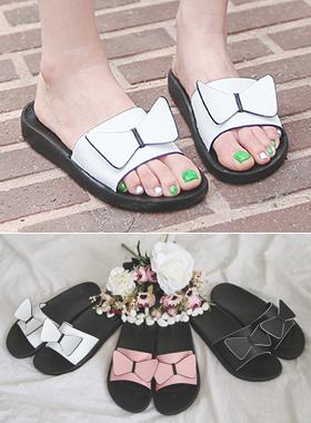 蝴蝶结牛皮拖鞋