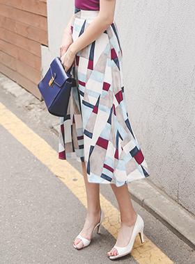 塞尔玛亚麻波浪群/喇叭裙裙子