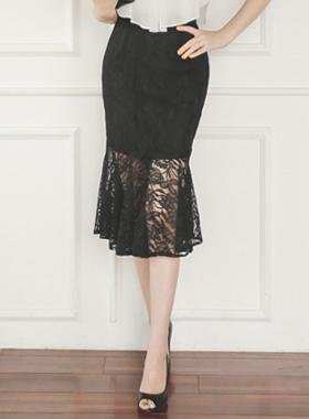 优雅蕾丝美人鱼裙子