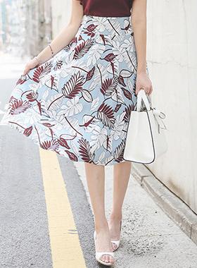 美术笔肋状花纹亚麻波浪群/喇叭裙裙子