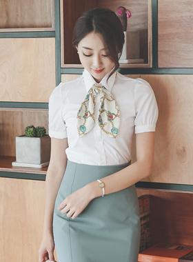 链条围巾棉弹力女衬衫