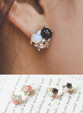 玛瑙及猫眼石工艺品耳环