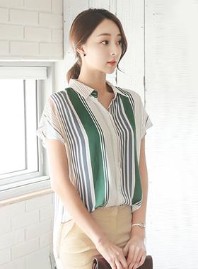 赫本条纹衬衫女衬衫