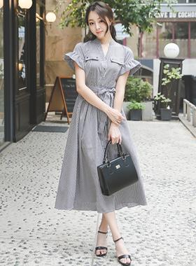 贝拉皱褶袖检查针尾长款连衣裙