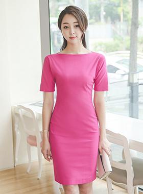 船领紫红色亚麻纺纱连衣裙