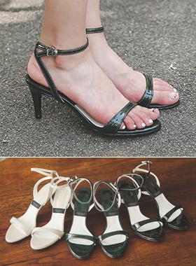 简单漆皮皮条/束带鞋跟凉鞋