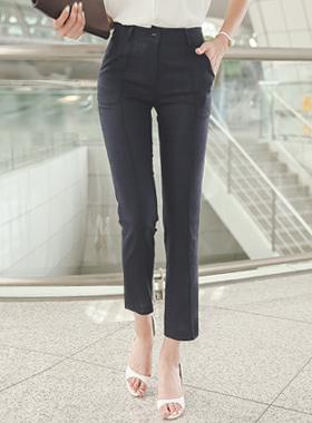 凉麻针抱膝线直宽松长裤