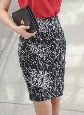 多边形修身棉弹力裙子