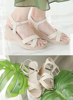 中性皮条/束带坡跟鞋凉鞋
