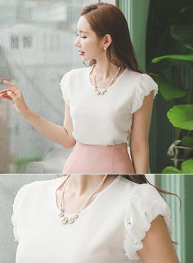 珍珠真丝泡泡袖上衣顶