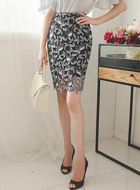 莲花刺绣蕾丝裙子