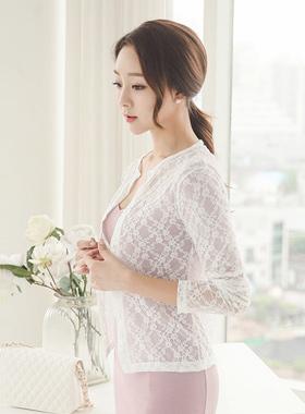 透明花蕾丝开衫