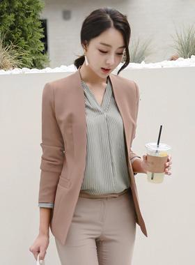 缝纯色削减外套