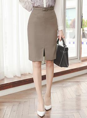 丝毛缝腰带裙子