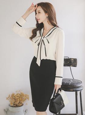 黑色蝴蝶结领带衬里连衣裙