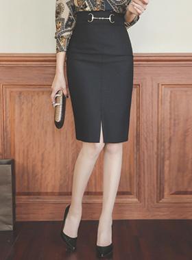 奢华裙金饰高腰裙子