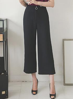 条纹环拉链宽短裤