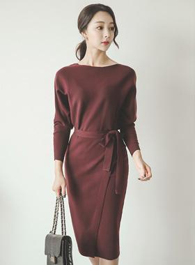 黄貂鱼MIDI针织衫裹身裙