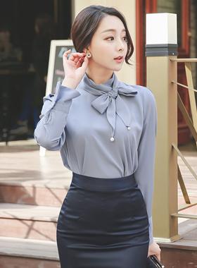 优雅珍珠围巾脖女衬衫