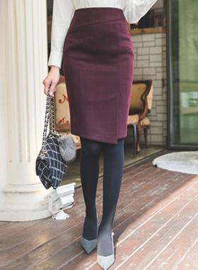 毛虫白肋烟斜纹狭缝裙子