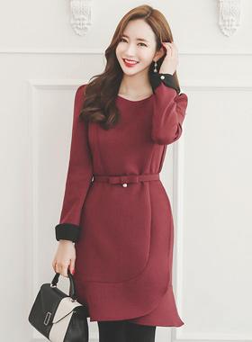 彩色珍珠皱褶袖连衣裙腰带