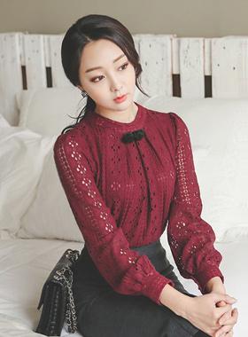 玫瑰刷蕾丝胸衣女衬衫