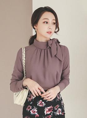 剪切rolnek蝴蝶结的围巾女衬衫