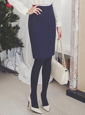 基本的加绒高腰裙子