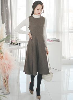 复古/古典羊毛呢子波浪群/喇叭裙连衣裙