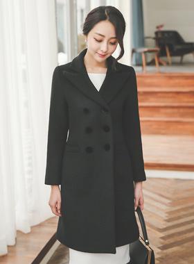 丝绒双排扣羊毛大衣