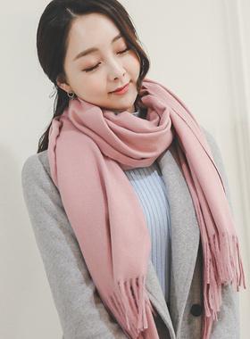 羊毛羊绒宽披巾围巾