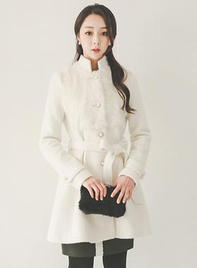 真正的兔毛珍珠按钮波浪群/喇叭裙羊毛大衣