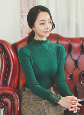 蕾丝领和袖口半极性针织衫