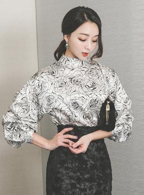 珠光感玫瑰蓬蓬裙女衬衫