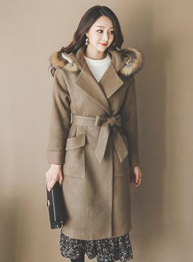 浣熊毛皮罩棉衣羊毛衫呢子大衣