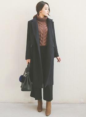 单身量体裁衣西装领型宽松款长款大衣