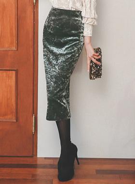 奢华裙丝绒MIDI裙子