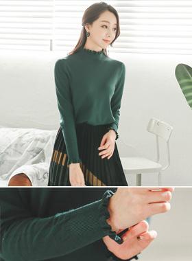 亲爱的柔丝褶边线针织衫