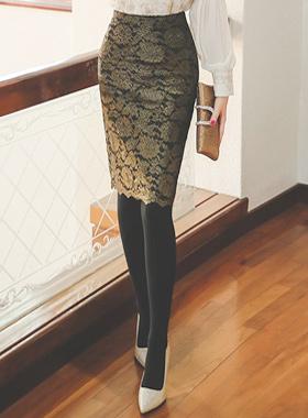 奢华裙黄金珍珠蕾丝裙子