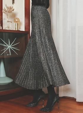 闪光针织衫百褶裙子