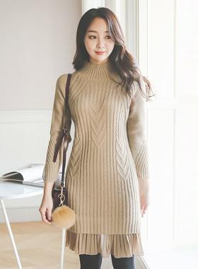 百褶雪纺裙针织衫连衣裙