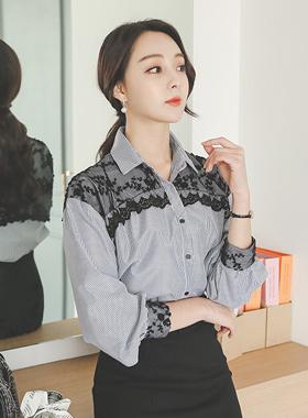 黑蕾丝条纹衬衫