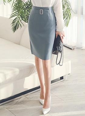 马特广场腰带裙子