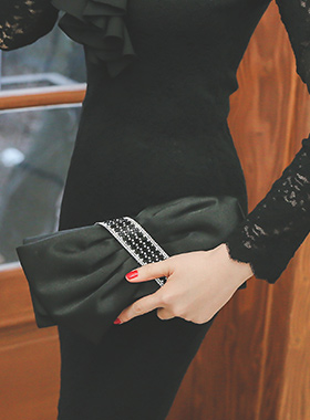 奢华裙绸缎色带立方(无带)提包