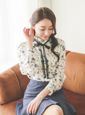 蕾丝蝴蝶结领带花女衬衫