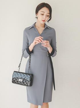 现代领磨砂扣连衣裙