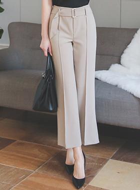 现代腰带针抱膝宽宽松长裤