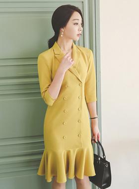 复古/古典双排扣褶边连衣裙