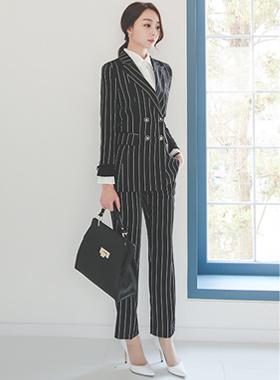 现代别致的金色纽扣条纹宽松长裤