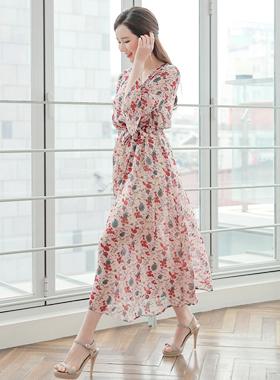 爱花真丝长款连衣裙